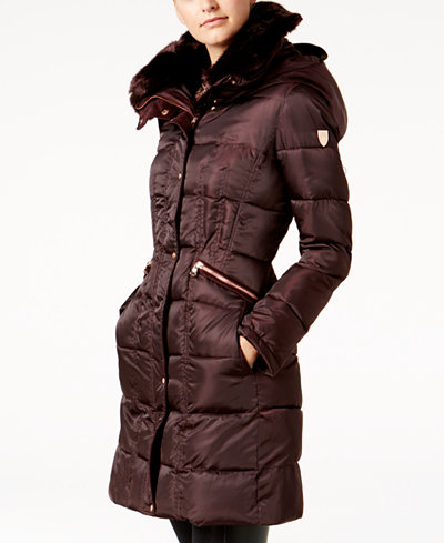 Vince Camuto Faux Fur Trim Hooded Puffer Coat Created For