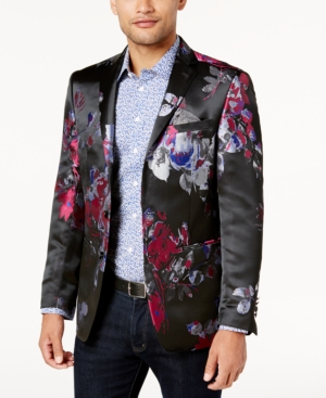 Tallia  ORANGE MEN'S SLIM-FIT BLACK, BLUE AND RED FLORAL PRINT DINNER JACKET