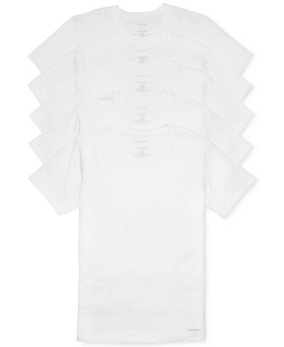 Calvin Klein Men's 5-Pk. Cotton Classics Crew Neck Undershirts, Created for Macy's