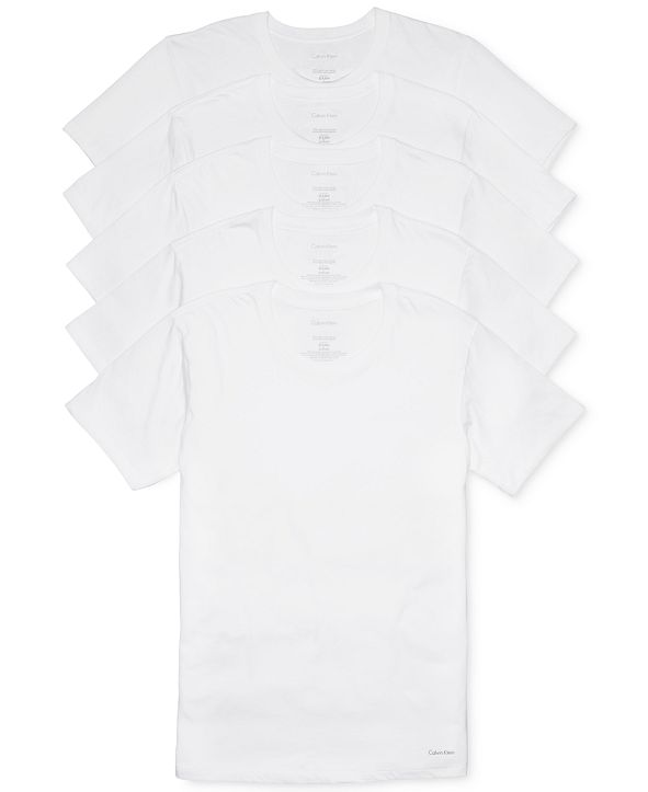 Calvin Klein Men's 5-Pk. Cotton Classics Crew Neck Undershirts, Created for Macy's