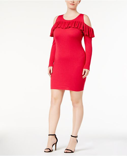 Say What Trendy Plus Size Cold Shoulder Sweater Dress Dresses