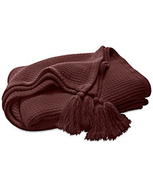 Lucky Brand Oversized Waffle Tassel Throw, Created for Macy's