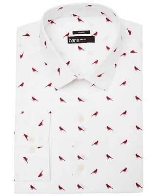 Bar III Men's Slim-Fit Stretch Easy-Care Red White Cardinal Print Dress Shirt, Created for Macy's