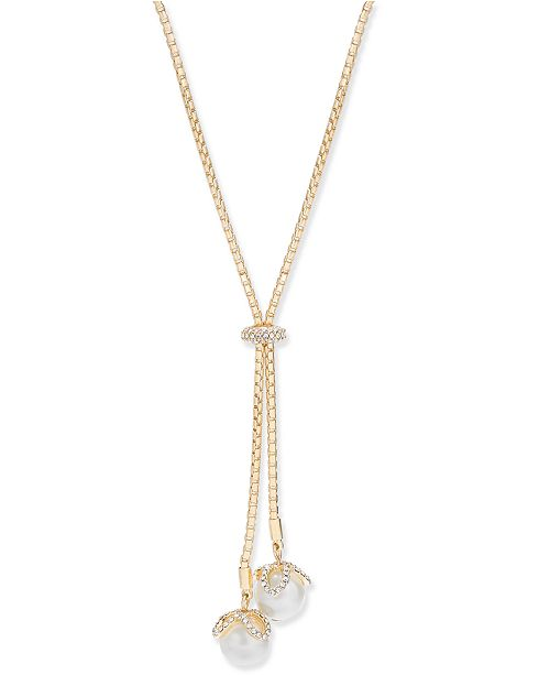 Charter Club Gold-Tone Imitation Pearl & Pavé Lariat Necklace, Created for Macy's
