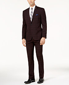 Nick Graham Men's Slim-Fit Stretch Burgundy Windowpane Suit