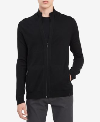 Calvin Klein Men\u0027s Merino Zip,Up Sweater, Created for Macy\u0027s