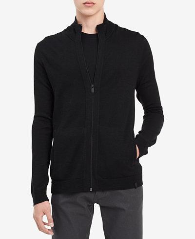 Calvin Klein Men's Merino Zip-Up Sweater, Created for Macy's