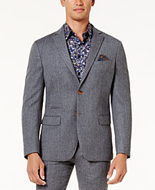 Tallia Men's Slim-Fit Light Gray Herringbone Sport Coat