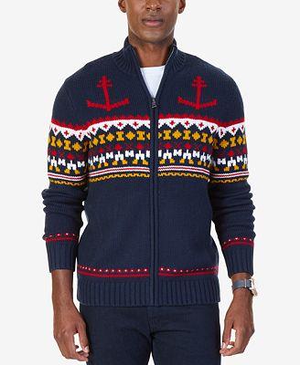 Nautica Men's Anchor Fair Isle Zip-Front Sweater - Sweaters - Men ...