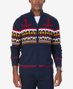 Men's Vintage Style Sweaters – 1920s to 1960s Nautica Mens Anchor Fair Isle Zip-Front Sweater $87.99 AT vintagedancer.com