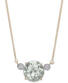 Green Quartz (5-3/4 ct. t.w.) & Diamond Accent Pendant Necklace in 14k Gold
