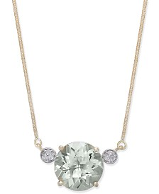 Green Quartz (5-3/4 ct. t.w.) & Diamond Accent Pendant Necklace in 14k Gold