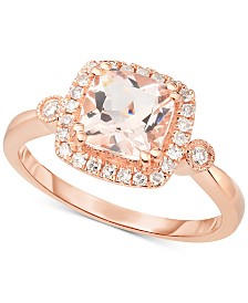 Morganite (1-1/3 ct. t.w.) & Diamond (1/5 ct. t.w.) Halo Ring in 14k Rose Gold