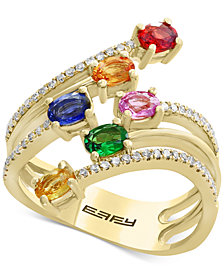 Watercolors by EFFY® Multi-Gemstone (1-3/8 ct. t.w.) & Diamond (1/5 ct. t.w.) Statement Ring in 14k Gold
