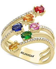 Watercolors by EFFY® Multi-Gemstone (1-3/8 ct. t.w.) & Diamond (1/5 ct. t.w.) Statement Ring in 14k Gold