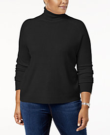 Karen Scott Plus Size Luxsoft Turtleneck Sweater, Created for Macy's