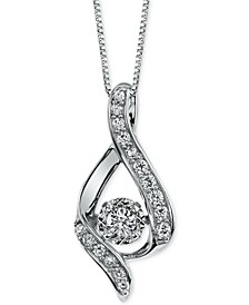 Diamond Ribbon Pendant Necklace in 14k Gold, Rose Gold or White Gold (3/8 ct. t.w.)