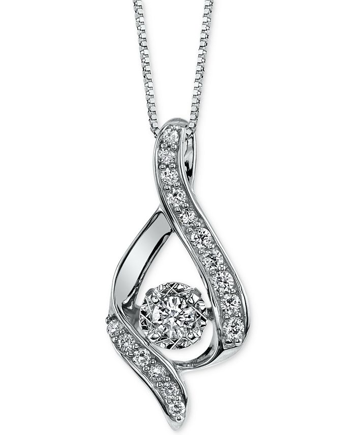 Macy's - Diamond Ribbon Pendant Necklace in 14k Gold, Rose Gold or White Gold (3/8 ct. t.w.)