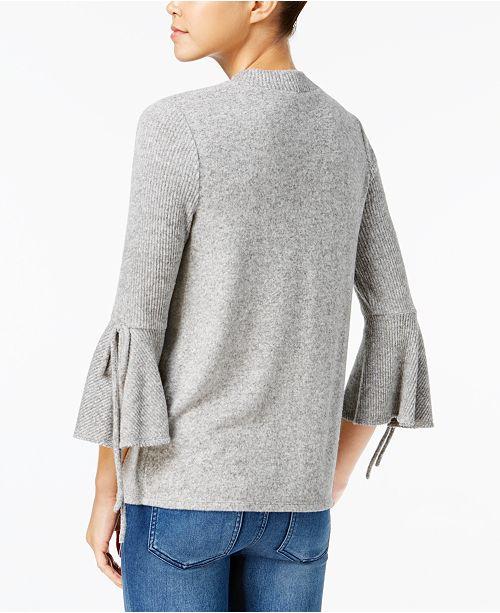 84b8ead2ea BCX Juniors  Bell-Sleeve Choker-Neck Sweater   Reviews - Sweaters ...