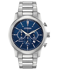 Citizen Men's Chronograph Quartz Stainless Steel Bracelet Watch 42mm, Created for Macy's