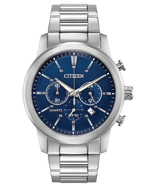 f860de2ef Citizen Men's Chronograph Quartz Stainless Steel Bracelet Watch 42mm,  Created for Macy's ...