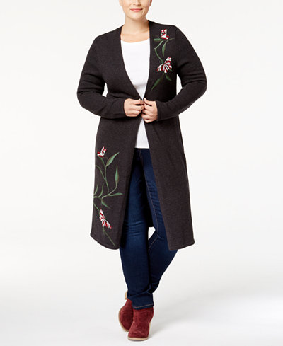 Style & Co Plus Size Embroidered Duster Cardigan, Created for ...