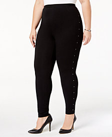 Style & Co Plus Size Studded Leggings, Created for Macy's