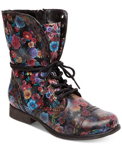 Steve Madden Women S Troopa Floral Combat Boots Boots