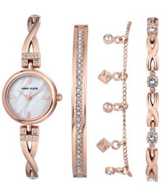 Anne Klein Womens Rose GoldTone Bangle Bracelet Watch 22mm Gift