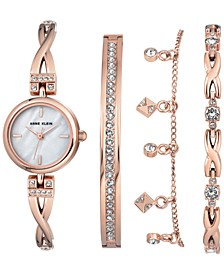 Women's Rose Gold-Tone Bangle Bracelet Watch 22mm Gift Set