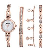 940e525d8b863 Anne Klein Women s Rose Gold-Tone Bangle Bracelet Watch 22mm Gift Set