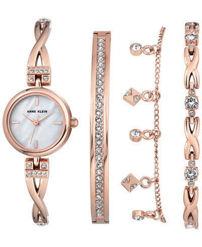 Anne Klein Women's Rose Gold-Tone Bangle Bracelet Watch 22mm Gift Set