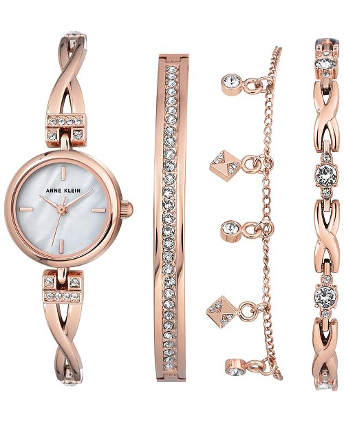 Women S Rose Gold Tone Bangle Bracelet Watch 22mm Gift Set