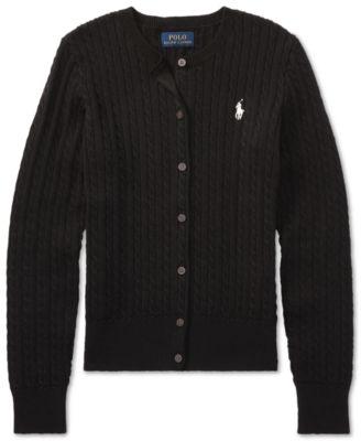 폴로 랄프로렌 걸즈 가디건 Polo Ralph Lauren Big Girls Cable-Knit Cotton Cardigan,Black