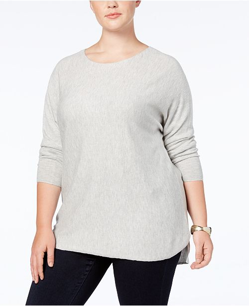 Sweater Heather International Plus Macy's Long Grey Created Sleeve Belle Concepts Size C I INC N for High Low cZ1PBn6WP