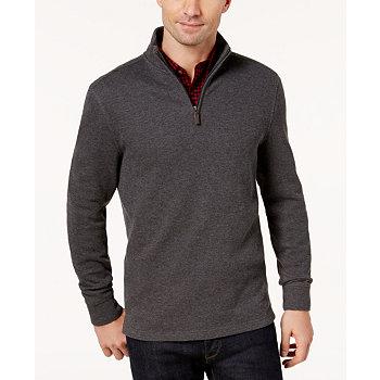 Club Room Mens Quarter-Zip Ribbed Cotton Sweater