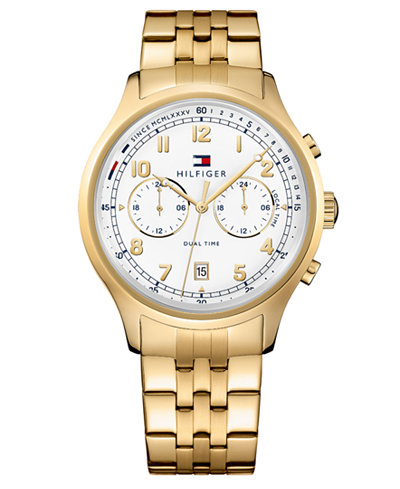 Tommy Hilfiger Men's Chronograph Gold-Tone Stainless Steel Bracelet Watch 44mm