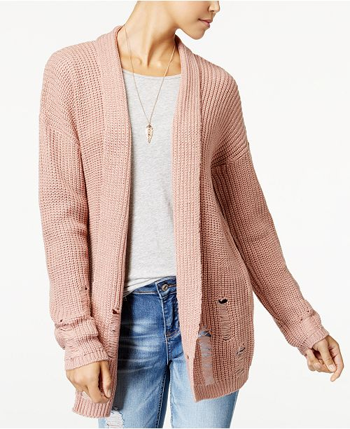 31bde0200a Polly   Esther Juniors  Ripped Shawl-Collar Cardigan - Sweaters ...