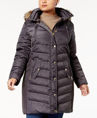 MICHAEL Michael Kors Plus Size Faux-Fur-Trim Down Coat, Created for Macy's