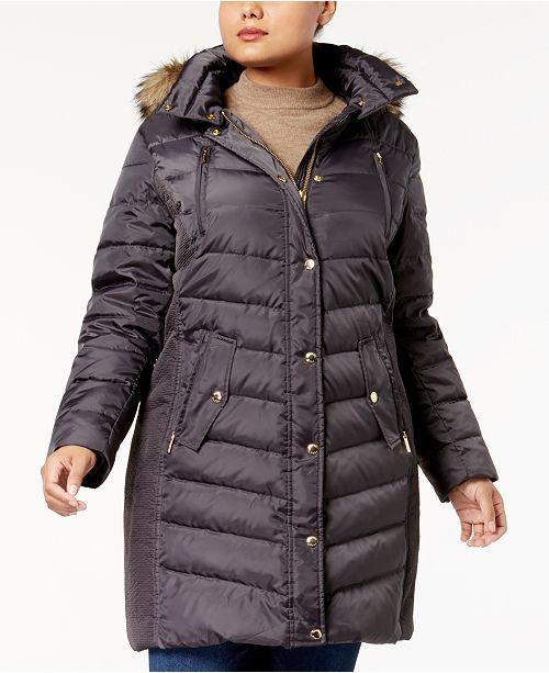 512512e2d55 Michael Kors Plus Size Faux-Fur-Trim Down Coat