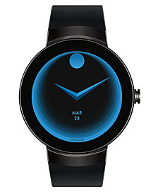 Movado Unisex Swiss Connect Black Silicone Strap Smart Watch 46.5mm