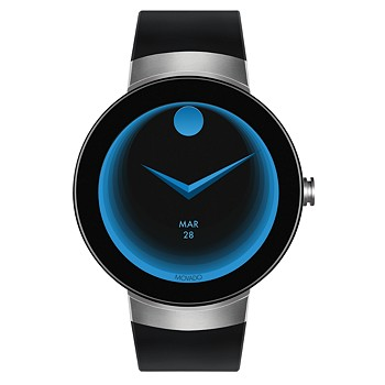 Movado Unisex Swiss Connect Black Silicone Strap 46.5mm Smart Watch