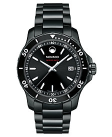 Movado Men's Swiss Series 800 Black PVD Performance Steel Bracelet Watch 40mm
