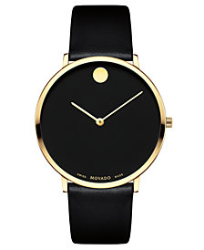 LIMITED EDITION Movado  Men's Swiss Museum Dial 70th Anniversary Black Leather Strap Watch 40mm - a Special Edition