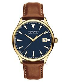 Men's Swiss Heritage Series Calendoplan Cognac Leather Strap Watch 40mm