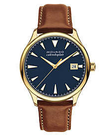 Movado Men's Swiss Heritage Series Calendoplan Cognac Leather Strap Watch 40mm