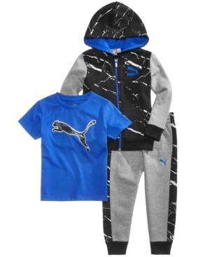 Puma 3Pc FullZip Hoodie TShirt  Jogger Pants Set Little Boys (47)