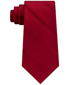 Tommy Hilfiger Men's Solid Textured Stripe Silk Tie