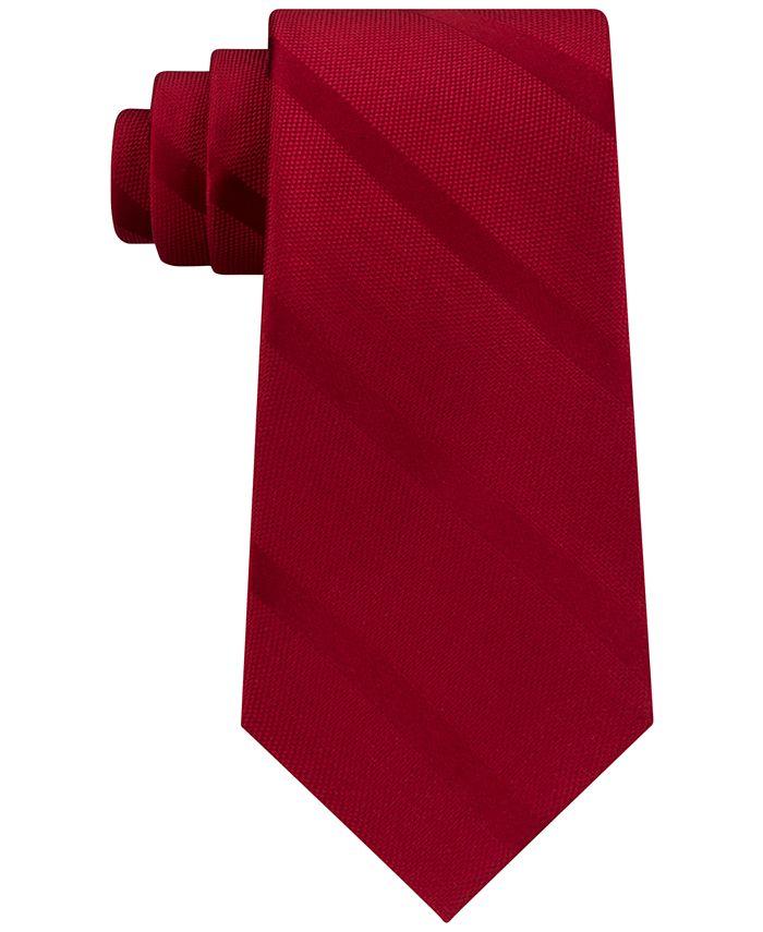 Tommy Hilfiger - Men's Solid Textured Stripe Silk Tie