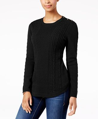 Charter Club Cable-Knit Button-Detail Sweater, Created for Macy's